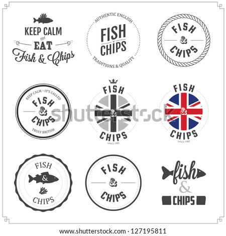 Set of Fish and Chips labels and badges isolated on white background - stock photo