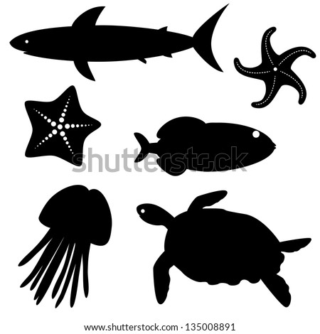 Set 5 of fish silhouettes isolated on white. Raster version. - stock photo