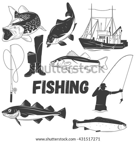Set of fishing labels in vintage style. Design elements, emblems, icons, logo and badges. Fish, boat, fishing rod.