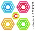 Set of five abstract emblems made of glossy hexagons isolated on white - stock photo