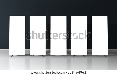 Set of five blank roll up posters - vertical billboard for text on dark background 3D render