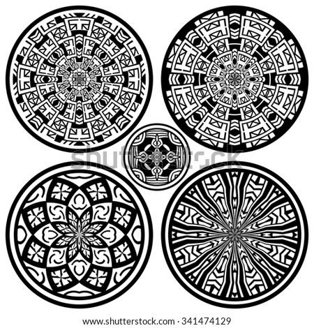 Set of five ethnic ornamental circles - stock photo