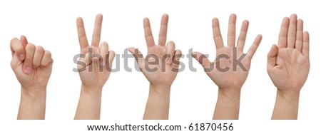 set of five isolated hands with various gestures