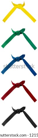 Set of five knotted karate belts isolated on white - stock photo