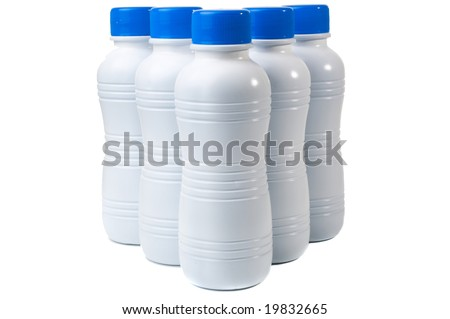 Set of five plastic bottles for bio products, isolated on white background - stock photo