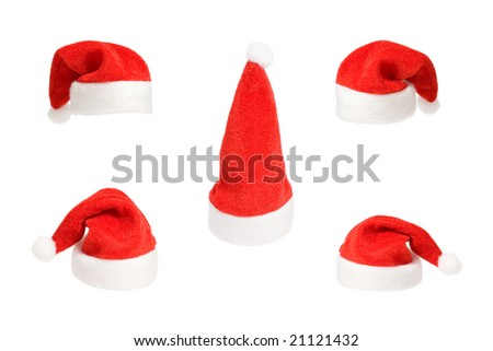 Set of five small Santa red hats isolated on white background - stock photo
