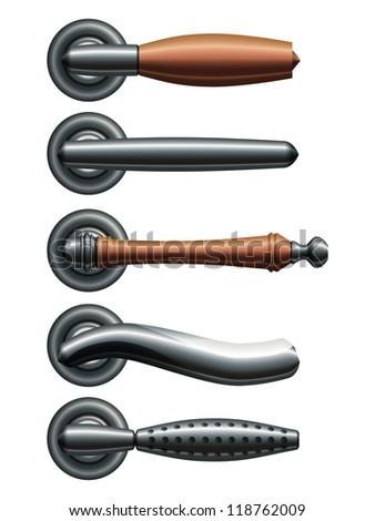 Set of five types of realistic metal door handles. Raster version of the vector image - stock photo