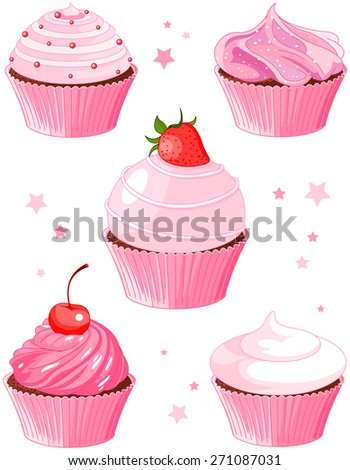 Set of five various cupcakes - stock photo