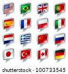 Set of flag speech bubble icons buttons; great for anything related to languages; regions or translation; or country specific web forum sections. - stock photo