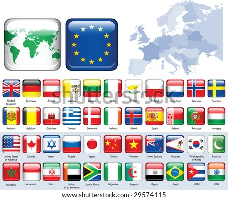 Set of flags. Glossy buttons. All elements and textures are individual objects. Vector illustration scale to any size. - stock photo