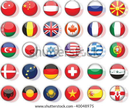 Set of flags. Glossy buttons, raster version of vector illustration - stock photo