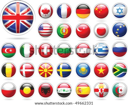 Set of flags. Glossy buttons. Raster version of vector illustration.