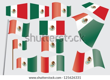 set of flags of Mexico - stock photo