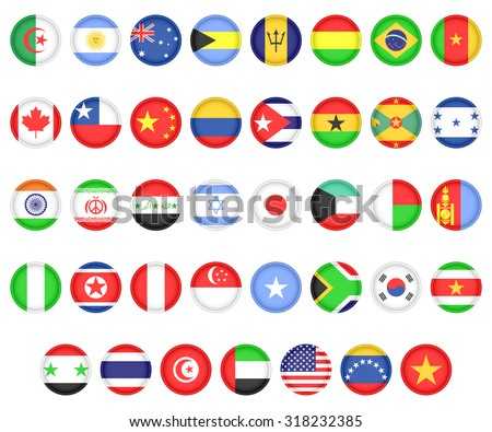 Set of flags of the countries of America, Asia and Africa. Icons on a white background. - stock photo