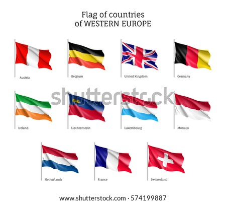 Set Flags Western Europe Countries Stock Illustration - Western european countries