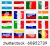 Set of flags with maps - stock photo