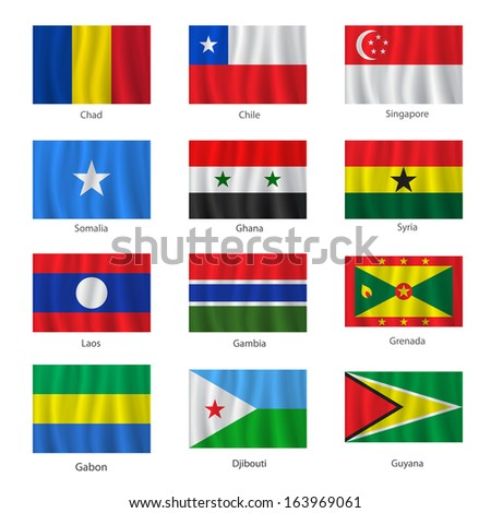 Set of flags with titles on the white background, raster version