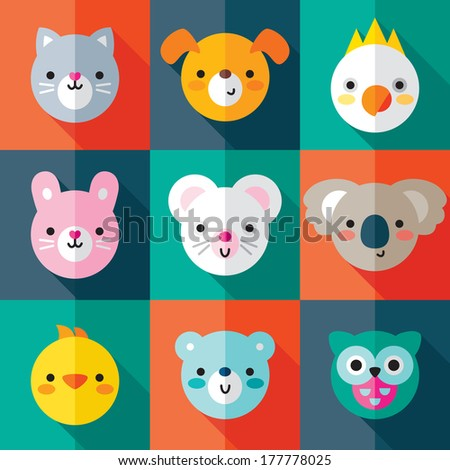 Set of flat animal and bird face icons in bright retro colors. Minimal retro design, long shadow effect. For stickers, labels and tags, cards. - stock photo