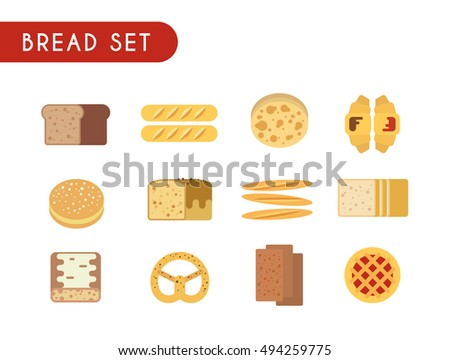 Set of flat color icons. Bread: toast, baguette, pie, pita bread, croissant pastry pretzel ciabatta