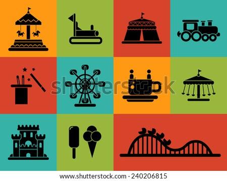 Set of flat design amusement park icons - stock photo