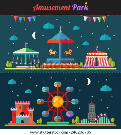Set of flat design composition with amusement park elements - stock photo