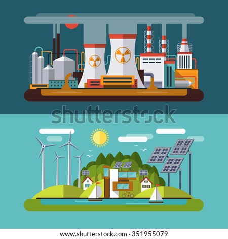 Set of flat design concept illustrations with icons of ecology, emissions, environment, green energy and nature pollution. Rasterized copy - stock photo