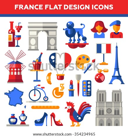 Set of flat design France travel icons and infographics elements with landmarks and famous French symbols