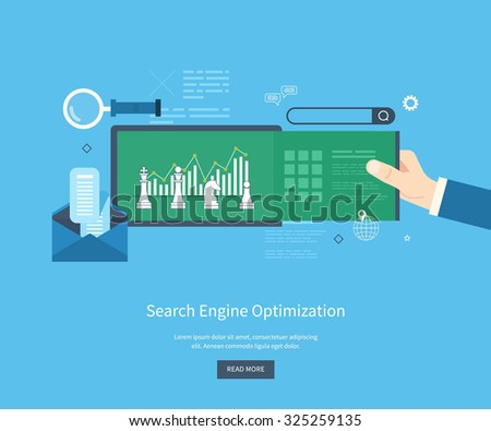 Set of flat design illustration concepts for search engine optimization and web analytics elements. Mobile app. - stock photo