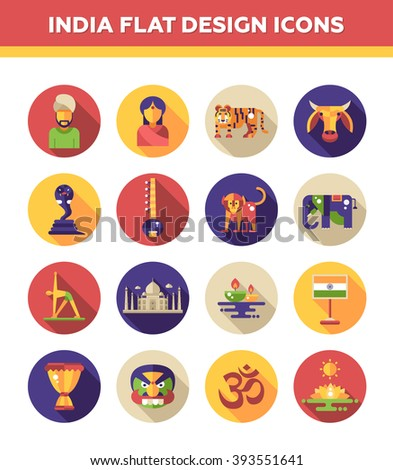 Set of flat design India travel icons and infographics elements with landmarks and famous Indian symbols