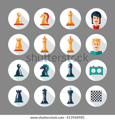 Set of flat design isolated named chess icons. Collection of the king, queen, bishop, knight, rook, pawn, board, clock and players - stock photo