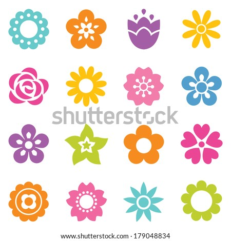 Set of flat flower icons in silhouette isolated on white simple retro illustrations in bright