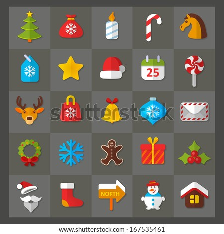 Set of flat icons. Christmas & New Year theme.
