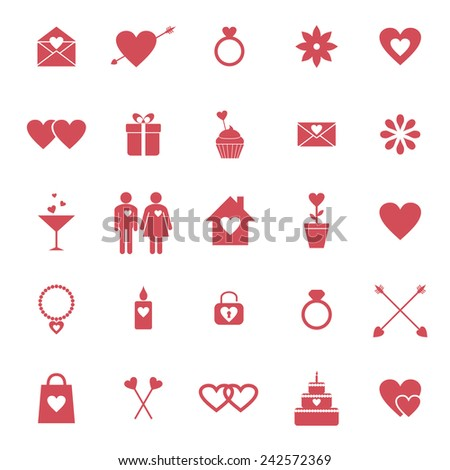 Set of flat icons for Valentine day or wedding design. Raster version - stock photo