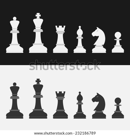set of flat style chess figures - stock photo