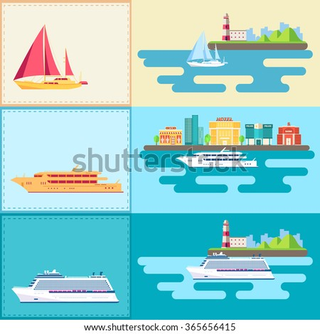 Set of flat yacht, scooter, boat, cargo ship, steamship, ferry, fishing boat, tug, bulk carrier, vessel, pleasure boat, cruise ship with blue sea banners concept. Design illustration - stock photo