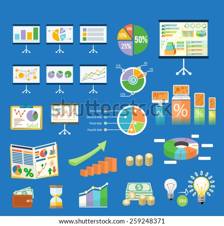 Set of flip chart with drawing business charts. Tripod stand with charts and parameters. Business concept of analytics in flat design style. Raster version - stock photo