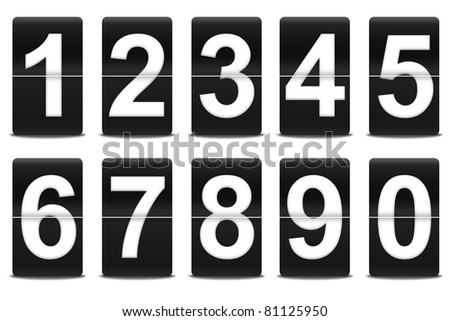 Set of flip numbers like airport's panels or alarm clocks. - stock photo