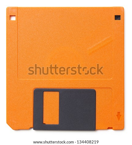 Set of floppy disks in 3.5 inch format with 1.44 MB capacity as commonly used in the late 80s/early 90s as storage medium for computer data. Studio shot, isolated on white background. - stock photo