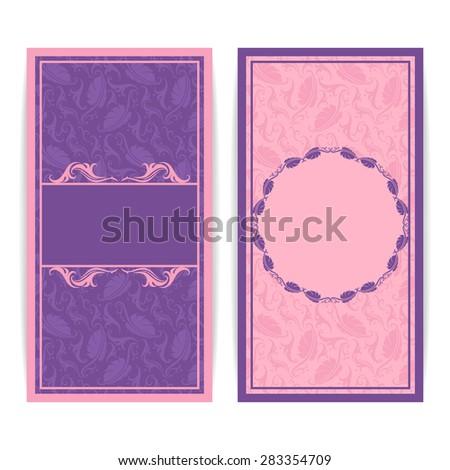 Set of floral decorative background, template frame design for card, brochure, book, business card, postcard, wedding invitation, banner. Raster version. - stock photo