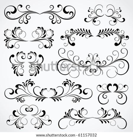 Set of floral elements for decor, Illustration - stock photo