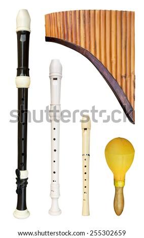 Set of flutes isolated on white - stock photo