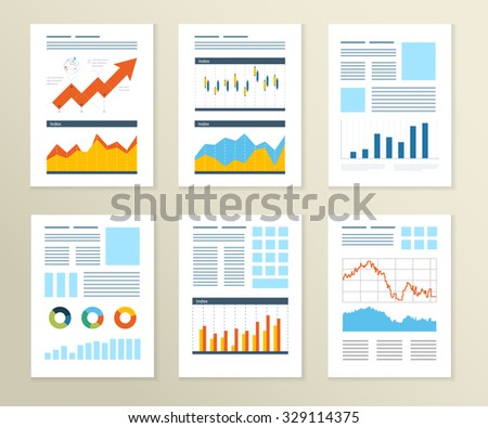 Set of Flyer, Brochure Design Templates. Financial report and financial strategy. Mobile Technologies, Applications and Online Services Concept. - stock photo