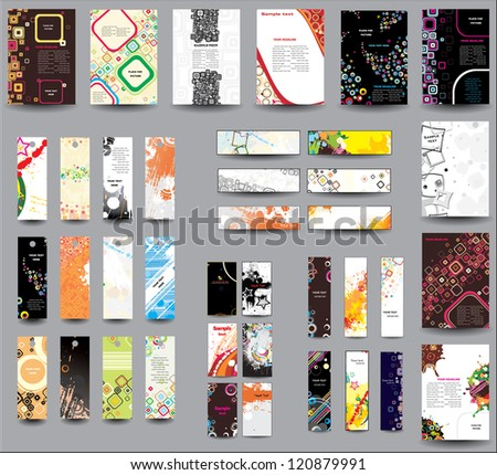 Set of flyers , banners , labels. Raster version - stock photo