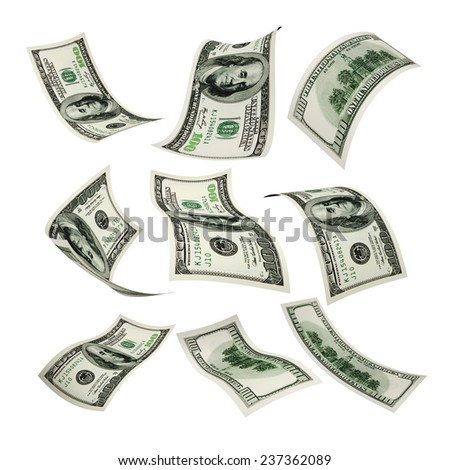 Set of flying 100 dollar money banknote on a white background - stock photo