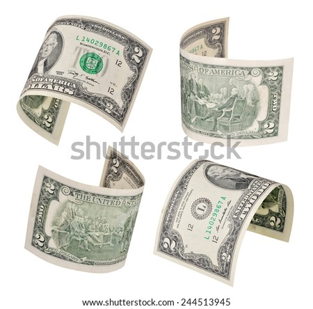 Set of flying two dollars banknote isolated on white background  - stock photo