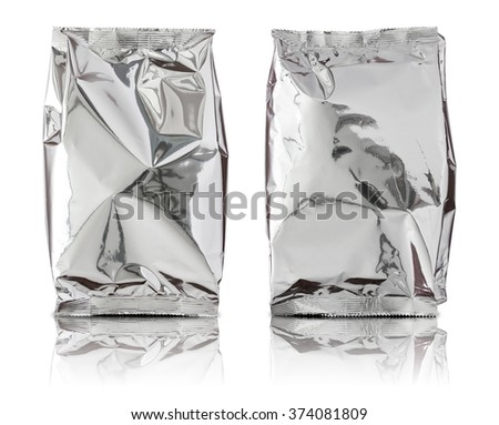 set of foil package bag isolated on white background - stock photo