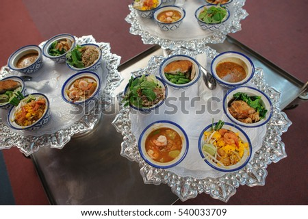 Set of food for monk in Buddhist merit of Thai cultural