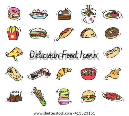 Set of food icon in doodle style - stock photo