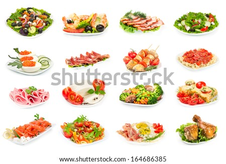 Set of food on the plate isolated on white background - stock photo