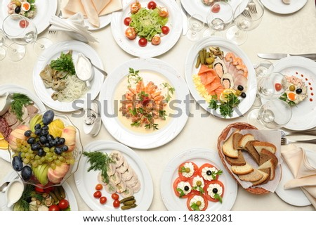 set of food prepared in restaurant on the table - stock photo
